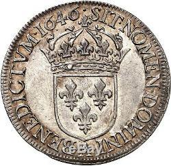 Louis XIV Ecu à la mèche longue 1646 Paris Splendide qualité très rare