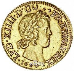Louis XIV Louis d'or à la mèche courte 1651/44 Lyon très rare variété Splendide