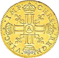 Louis XIV Superbe 1/2 Demi-louis d'or à la mèche courte 1645 Paris très rare