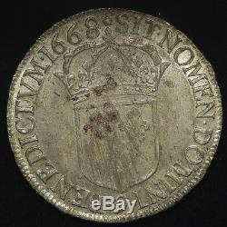 Louis XIV Superbe Ecu au buste juvénile 1668 Rennes (9) PCGS MS62 très rare