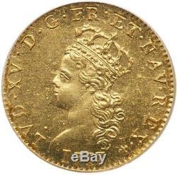 Louis XV Demi-louis d'or de Noailles Très rare PCGS MS63 Haut grade Qualité SPL