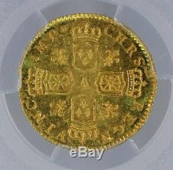 Louis XV Demi-louis d'or dit de Noailles 1717 Paris très rare PCGS MS63