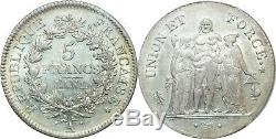 M1854 TRES RARE 5 Francs UNION ET FORCE AN 11 A PARIS PCGS AU53 SUPERBE Argent