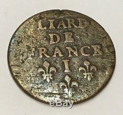 Monnaie Royale Fautee @ Tres Rare Liard De Limoges Avec Frappe Incuse @ Error
