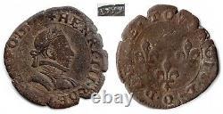 Monnaies royales double tournois 1579 + deniers 1624 O Riom très rares