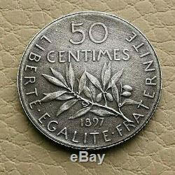 N°15 50 centimes. Semeuse 1897 FLAN MAT (SUP) TRES RARE