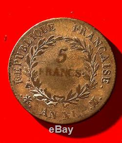 NAPOLEON BONAPARTE premier consul, tres rare 5 francs AN XI MA Marseille
