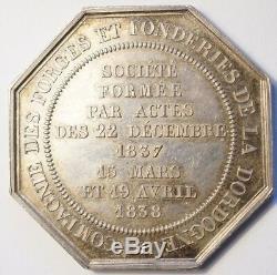 NAPOLEON III TRES RARE JETON ARGENT Cie DES FORGES & FONDERIES DORDOGNE 1838