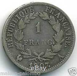 NAPOLEON Ier 1 FRANC ARGENT 1807 A PARIS TRES RARE