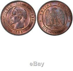 Napoléon III 10 Centimes 1855 B Rouen Ancre très rare PCGS MS64 + FDC Ci