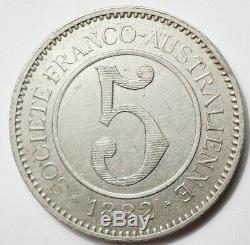 Nouvelle-caledonie Tres Rare Jeton De 5 Francs 1882 Societe Digeon A Gomen