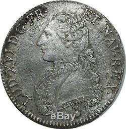 O1504 TRES RARE Ecu Louis XVI 1789 AA Metz Argent Silver -F offre