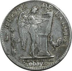 O1542 TRES RARE Ecu Constitution Louis XVI 1793 MA Marseille Argent Silver -F o