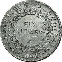 O1587 TRES RARE Ecu 6 Livres Convention Louis XVI 1793 A Paris 2e sem Argent