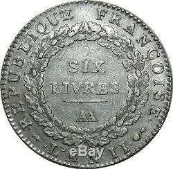 O1598 TRES RARE Ecu 6 Livres Convention Louis XVI 1793 AA Metz Argent Silver TTB
