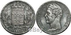 O1862 TRES RARE 1 Franc Charles X 1830 T Nantes 4 feuilles PCGS MS63 SPL CI