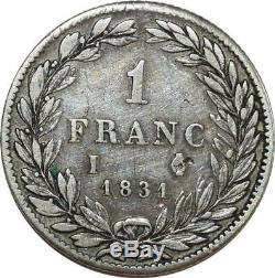 O8764 Très Rare 1 Franc Louis Philippe 1831 I Limoges Argent TTB