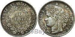 O8923 Très Rare 50 Centimes Cérès 1851 A Paris Argent FDC PCGS MS65