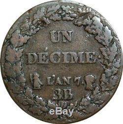 O9466 Très Rare Directoire Un Décime Dupré an 7 BB Strasbourg Flan 5 Centimes