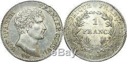 P2268 TRES Rare 1 Franc Bonaparte Napoleon I AN 12 A Paris PCGS AU58 Argent