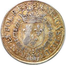 P3320 Très Rare Jeton Henri III Roi Pologne Grâce de Dieu Mars 1584 Argent
