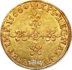 P3369 Très Rare Ecu d'or Charles IX au soleil 1566 G Poitiers Or Gold AU