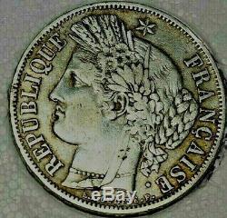 PIECE 5 Francs, Cérès, 1849, Paris, ARGENT TRES RARE