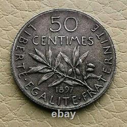 PL N°3 50 centimes. Semeuse 1897 FLAN MAT (SPL) TRES RARE