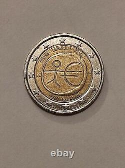 Pièce 2 Euros Commémorative UEM 1999 2009 Belgique Très Rare