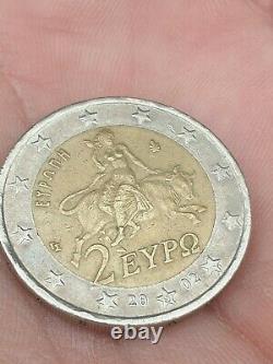 Pièce de 2 Euro très Rare de 2002. Gréce avec le''S''dans L'étoile surplus metal