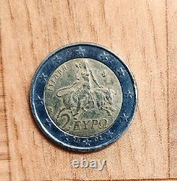 Pièce de 2 RARE Grèce 2002 très recherchée avec s dans l'étoile du bas