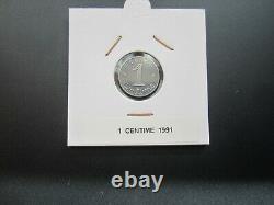 Pièce la très rare monnaie de 1 centime épi 1991 frappe courante