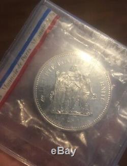 Piefort argent 50 Francs Hercule 1976 FDC -Tirage 213 exemplaires Très Rare