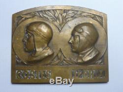 Plaque Bronze Médaille COSTES-LE BRIX TOUR DU MONDE BREGUET- HISPANO TRÈS RARE