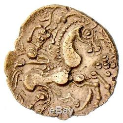 Pn7033 Très Rare Hemistatere En Or Exceptionnel Aulerques Eburovices Loup