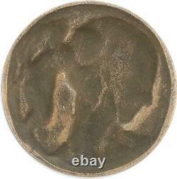 R2012 Très Rare Fonte Médaille Uniface Art Déco Aphrodite Cupidon Delannoy SUP
