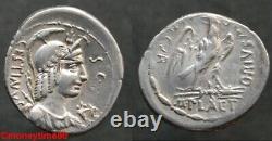 REPUBLIQUE ROMAINE, denier d'argent de PLAETORIA en TTB+, très rare