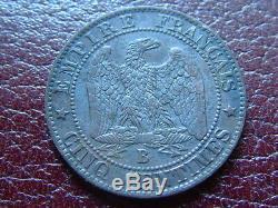 Rare 5 Centimes Napoleon 1857 B Très difficile à trouver dans l'état