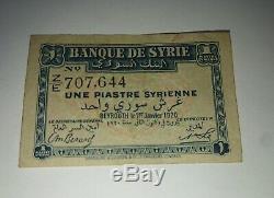 Rare Et Très Bon État Billet Une Piastre Syrienne De 1920