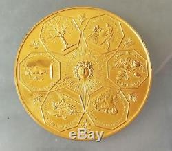 Rare Tres Grande Medaille Monnaie De Paris Meilleurs Voeux Bronze Dore 1963