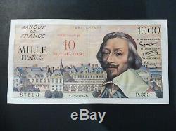 Rare & Tres Joli Billet 1000 Frs Richelieu Surchargé 07/03/1957 Ttb/sup Rare