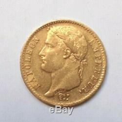 Rare et très belle pièce de 20 francs or 1807 Paris Napoleon I tête laurée