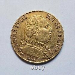 Rare et très belle pièce de 20 francs or 1815 B Louis XVIII
