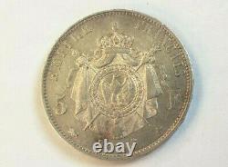 Rare et très belle pièce de 5 francs argent 1856 D Lyon Napoleon III