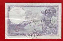 (Ref K. 602) 5 FRANCS VIOLET 30/12/1920 (SUP-) DATE TRES RARE