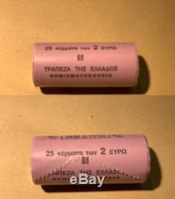 Rouleau Roll de 25 pièces de Grèce 2002 2 euro Lettre S SUP SPL TRES RARE