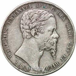 S7625 Très Rare Italian States SARDINIA 5 Lire 1860 B Fearis Silver