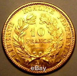 SPL/FDC! Très RARE Pièce 10 francs frs en Or Cérès IIème Rép 1851 A