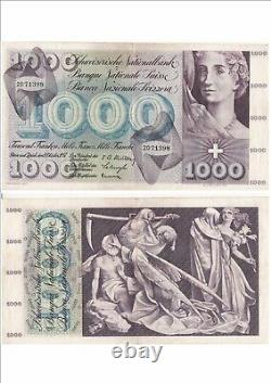 SUISSE SWITZERLAND SWISS SCHWEIZ 1000 Frs 04-10-1957 très rare état voir scan