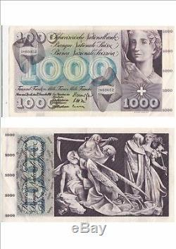 SUISSE SWITZERLAND SWISS SCHWEIZ 1000 Frs 22-12-1960 très rare état voir scan 52